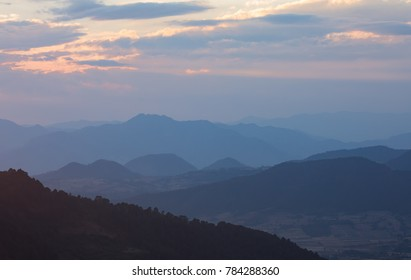 Landscape with Mountains Near and Far at Sunset