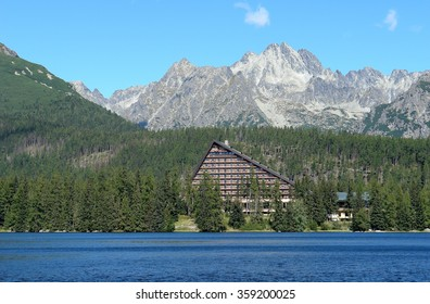 Landscape with mountains on the Strbske Pleso in High Tatras, Slovakia