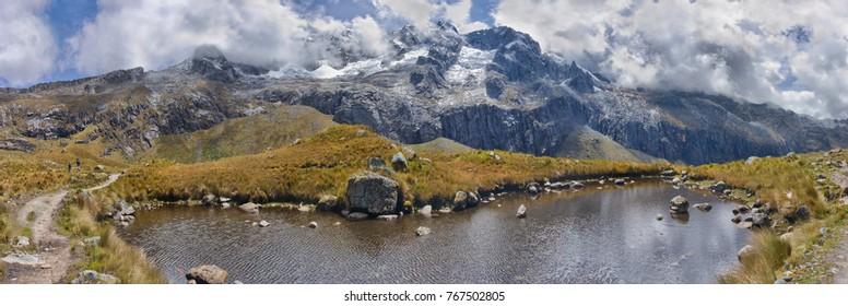 Landscape of mountains. Santa Cruz Trek, Cordillera Blanca, Peru