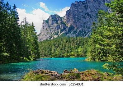 Landscape with mountains and turquoise lake-Gruener See,Styria,Austria.