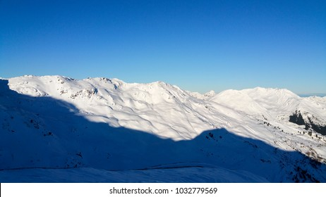 Landscape of mountains while skiiing in Austria