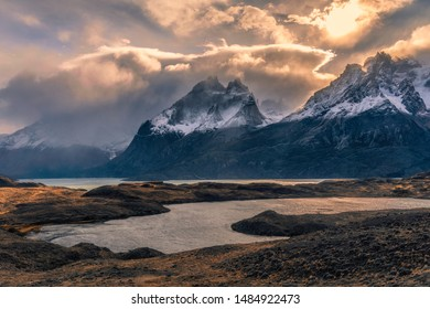 The Landscape of Mt. Cuernos del Paine, Torres del Paine National Park, Patagonia, Chile - Shutterstock ID 1484922473