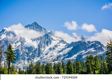 Landscape Mt. Shuksan with the clouds at North Cascades National Park, Washington, USA
