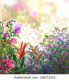 landscape of multicolored flowers watercolor painting