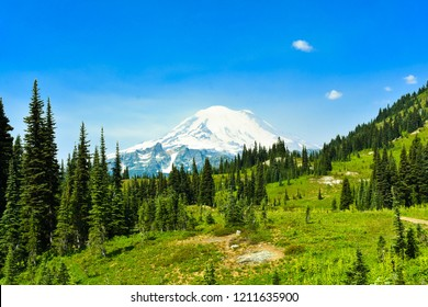 landscape of  Naches Peak Loop Trail below Mount Rainier at  Mount Rainier National Park, Washington, USA.