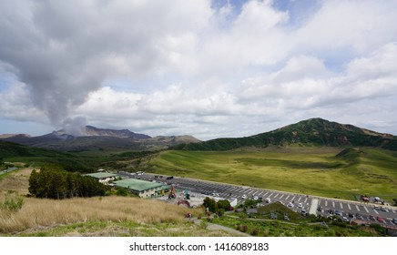 Landscape of Nakadake and Kusasenri parking , Aso mountain in spring, Aso mountain in Japan,