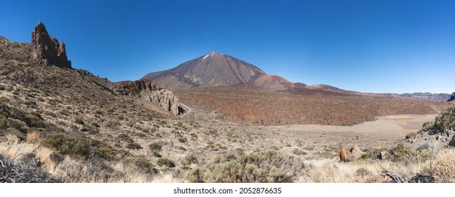 Landscape in the national park Tenerife with a view to the southern flank of Mount Teide, taken during the ascent to the mountain Montana de Guajara