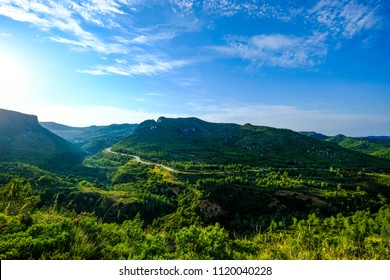 Landscape in the natural park of Garraf in the province of Barcelona in Catalonia in Spain