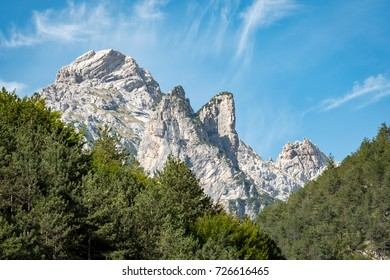 Landscape of natural park of Italian Dolomites, Val Cimoliana, Friuli Venezia Giulia