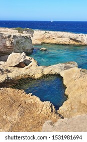 landscape of natural pool of the sea between the rocks at Ano Koufonisi island Greece