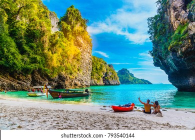 Landscape of natural sea beach on small island, Poda island, Andaman sea, Krabi, Travel in Thailand, Beautiful destination place Asia, Summer holiday outdoor vacation trip