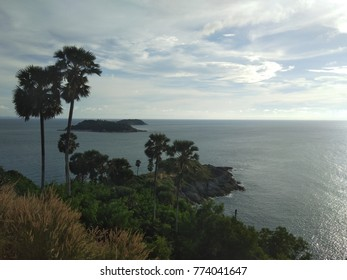 landscape nature with tree mountain and ocean for background from Lam phrom-tep the landmark of Phuket Thailand