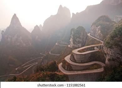 Landscape Nature of The winding road of Tianmen mountain national park, Zhangjiajie, Hunan , China