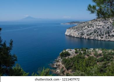 landscape near athos mountain in greece