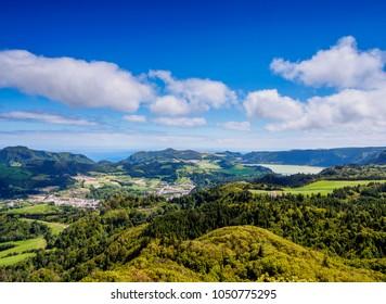 Landscape near Furnas, Sao Miguel Island, Azores, Portugal
