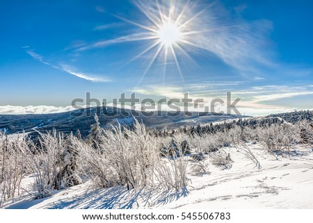 Landscape near Oberwiesenthal in Germany in winter