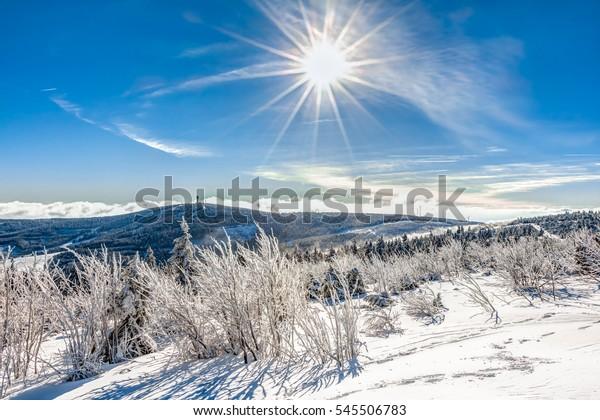 Landscape near Oberwiesenthal in Germany in winter