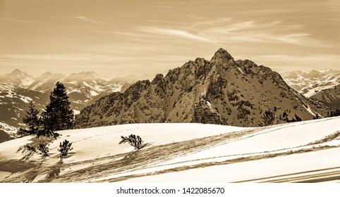 landscape near perstisau in austria - rofan and karwendel mountains in winer