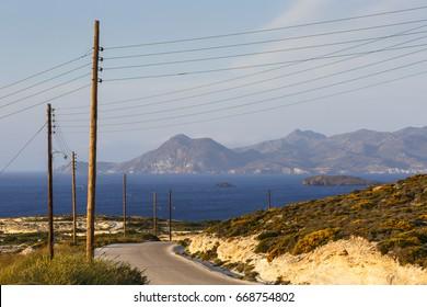 Landscape near Sarakiniko beach on Milos island in Greece.