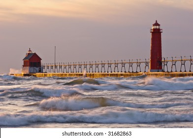 Landscape near sunset of Grand Haven, Michigan lighthouse, Lake Michigan, on a blustery day