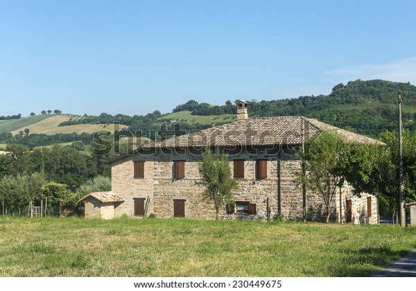 Landscape near Tolentino and San Severino Marche (Macerata, Marches, Italy) at summer. Old house.