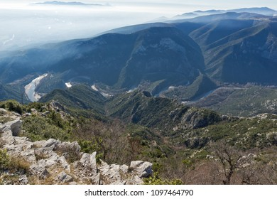 Landscape of Nestos River Gorge near town of Xanthi, East Macedonia and Thrace, Greece - Shutterstock ID 1097464790