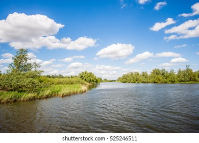 Landscape in the Netherlands with a wide creek in the Dutch national park De Biesbosch on a sunny and cloudy day in the spring season.