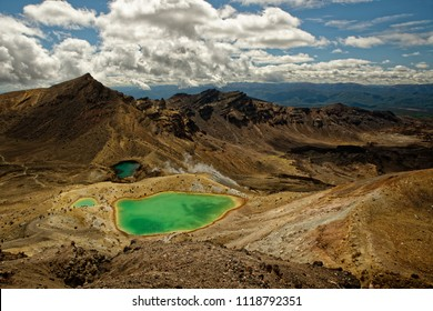 Landscape New Zealand - National Park Tongariro with active volcanos Ruapehu and Ngauruhoe, one of the best treks in the world, North Island.
