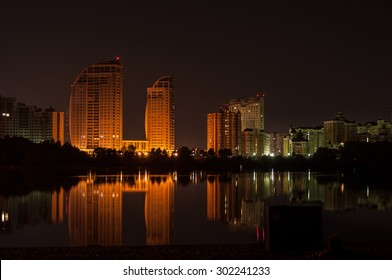 landscape night city on the river