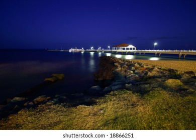 landscape at night of jetty