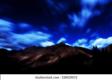 Landscape at night in Nubra valley, Leh Ladakh, Jammu and Kashmir, India