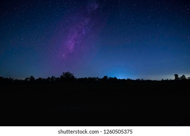 Landscape Night With Stars And Milky Way, silhouette with sky