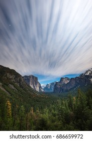 Landscape at night time from Tunnel View Yosemite National Park