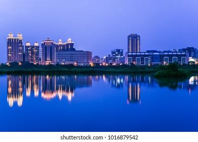 Landscape Night View of Zhubei City at The Riverside Park, Hsinchu, Taiwan