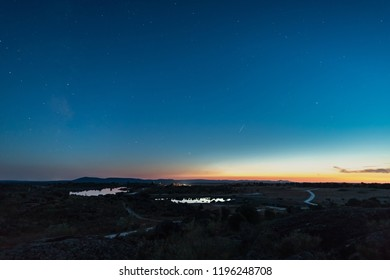 Landscape at nightfall in the Natural Area of Barruecos. Extremadura. Spain.