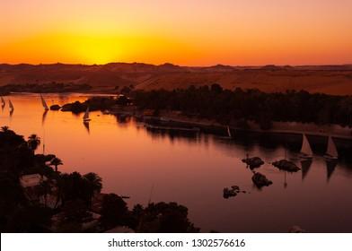 Landscape of Nile River at Aswan city Egypt