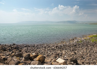 landscape of the north shore of the Sea of Galilee ( Kinneret ) near Capernaum (Kfar Nachum) in Israel