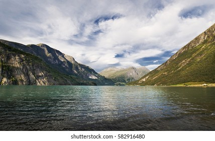 Landscape in Norway - fiord and mountains