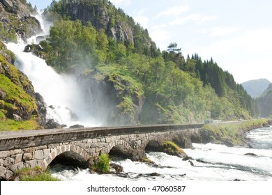 Landscape of Norway, Scandinavia, Europe with amazing waterfall