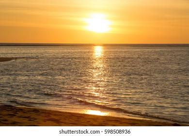 landscape ocean beach ocean and sky in sunset time