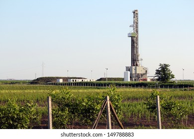 landscape with oil drilling rig