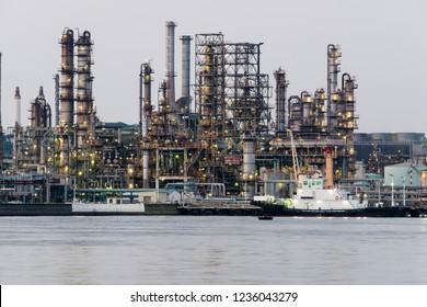 Landscape of an oil factory in Yokohama, Japan.
