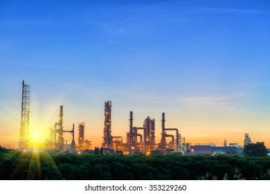 Landscape of Oil Refinery Plant and Manufacturing Petrochemical Process Building, Industry of Power Energy and Chemical Petroleum Product Factory. Natural Oil/Gas Commodity Industrial