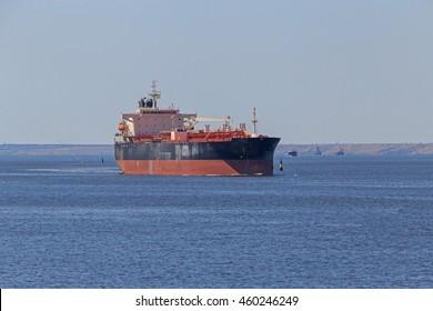 landscape with oil tanker in sea gulf