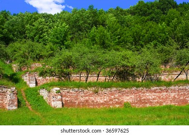 Landscape with old brick terraces