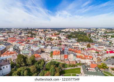 Landscape of the old city in Lublin. Lublin from a bird's eye view, view of Po Farze Square.