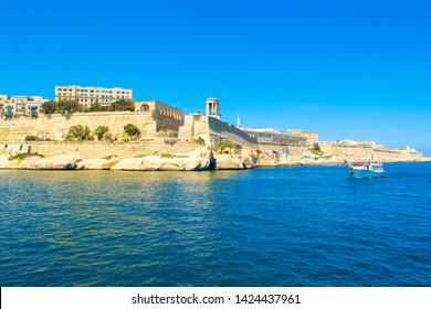 Landscape with old Fort Saint Elmo on the Sciberras Peninsula, Valletta, Malta