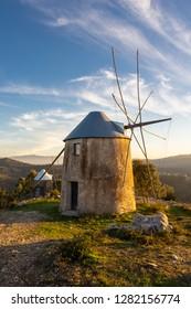 Landscape of Old Historical Windmill in Penacova Portugal (Moinhos de Gavinhos) at Sunset