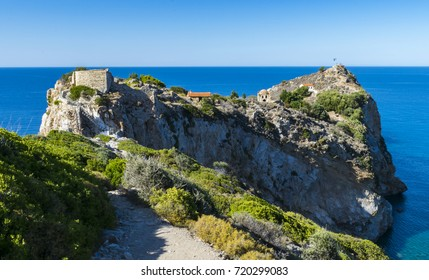 Landscape of the old Kastro town (castle), on Skiathos island in Greece