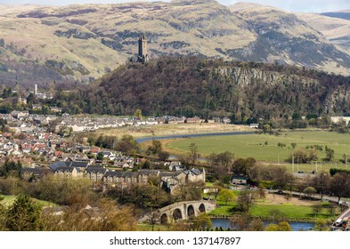 Landscape with the Old Stirling Bridge, Abbey Craig and Wallace Monument at Stirling, Scotland